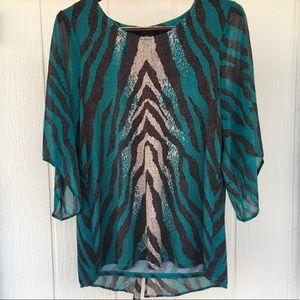 L STYLE & CO Animal Print Flowy Dressy Blouse EUC